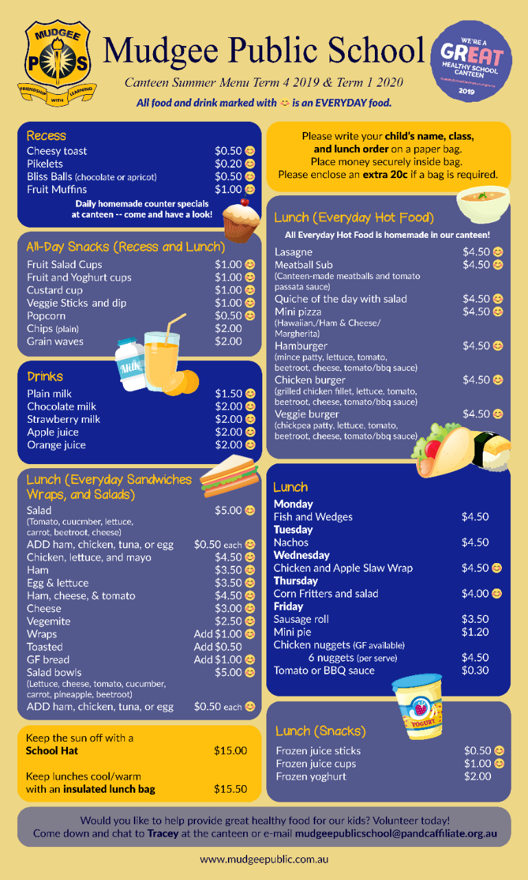 view our current canteen menu