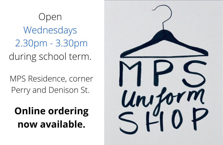 MPS Uniform Shop logo and opening hours