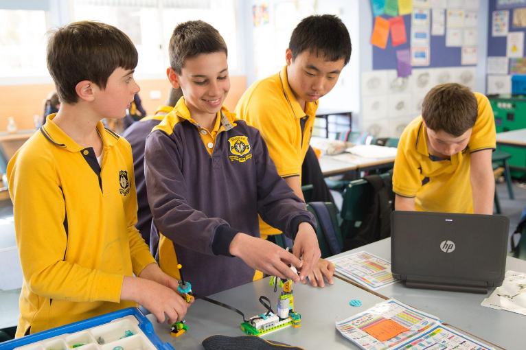 Year 6 students exploring robotics